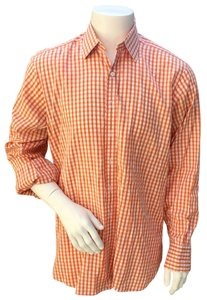 Turnbull and Asser Button Down Shirt orange and white