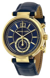 Michael Kors Gold tone Stainless Steel Navy Blue Dial Leather Strap Designer Ladies Watch