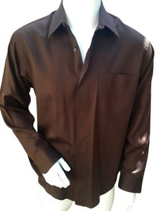 Geoffrey Beene Mens Dress Shirt Button Down Button Down Shirt brown