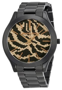 Michael Kors Zebra Print Crystal Pave Gold and Black Ion Plated Stainless Steel Designer Dress Watch