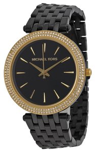 Michael Kors Black Ion Plated Gold with Crystal Pave Bezel Designer Ladies Dress Watch