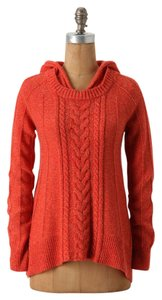 Anthropologie Moth Fireside Cable Knit Hoodie Sweater