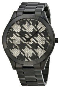 Michael Kors Black Ion Plated Houndstooth Crystal Pave Designer Ladies Fashion watch