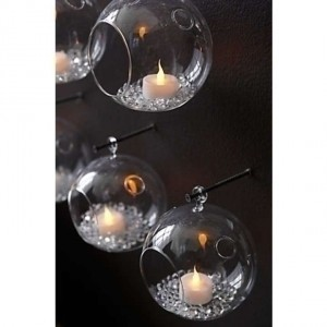 Clear Crystal Hanging Bubbles Set Of 6 8x8 Circumference Set Of Tea Light Holders Votive/Candle
