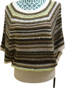 BCBG Max Azria Knit Cape Poncho Gold White Grey Striped Multi Color Boho Bohemian Indie Hippie Urban Chic Elegant Pretty Modern Sweater