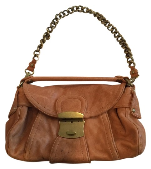 Kooba Leather Chain Beige Tan Shoulder Bag