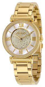 Michael Kors Crystals and Mother of Pearl Dial Gold Plated Stainless Steel Designer Dress Watch