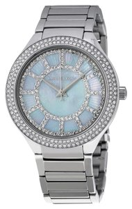 Michael Kors Blue Mother of Pearl and Crystal Pave Silver Stainless Steel Designer Dress Watch