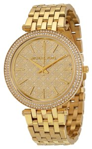 Michael Kors Crystal Pave Dial Gold tone Stainless Steel Designer Ladies Dress Watch