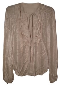 L'AGENCE Saks Fifth Avenue Nordstrom Metallic Glam Date Night Designer Top Biege