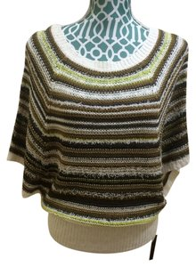 BCBGMAXAZRIA Max Azria Knit Poncho Cape Gold White Grey Indie Hippie Boho Bohemian Women Ladies Girls Juniors Fall Autumn Cold Sweater