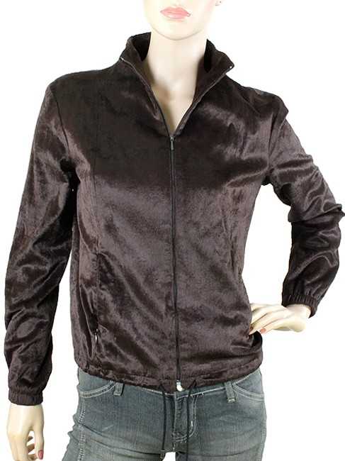 Plein Sud Fur Faux Fur Bomber Calfskin Zipper Brown Jacket