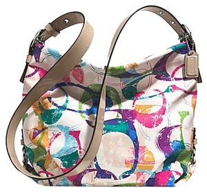 Coach Duffle Poppy Stamped Signature Hobo Bag