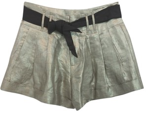 Rebecca Taylor Linen Mini/Short Shorts Metallic