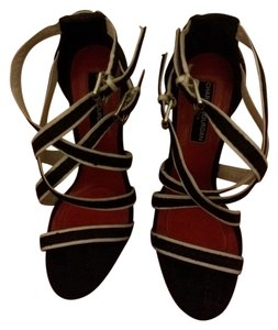 Charles Jourdan Nautical Strappy Heel Black and White Sandals