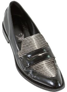 Tod's Oxfor Oxford Zebra Animal Print Studded Patent Leather Patent Black Flats