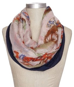 NEW with Tags Navy and Ivory Infinity Scarf with Feather Print in Two Layers