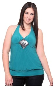 Torrid 2x 18/20 Halter Stretch/Fitted Plus Size Top Teal