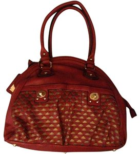 Big Buddha Leather Coach Satchel in Red & Pewter