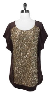 Shoshanna Sequin Top Brown