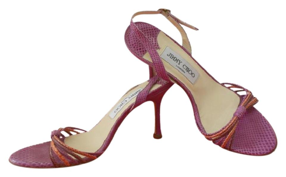 0b6a5082590a Jimmy Choo Lilac Snake Embossed Strappy Sandals Size EU 36.5 (Approx ...