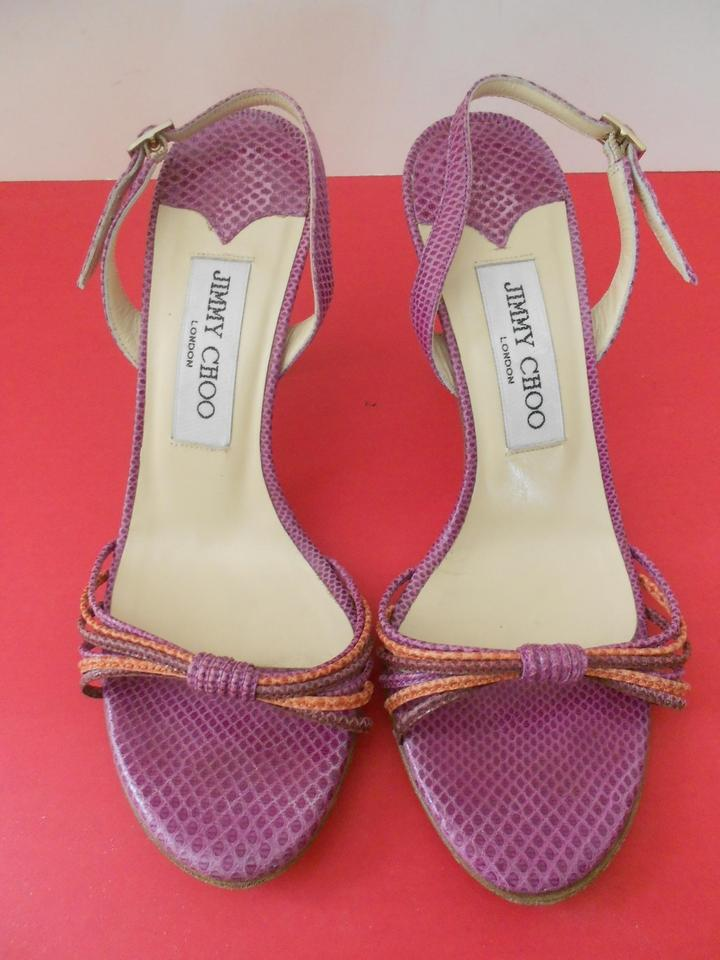 5752d86c2dde Jimmy Choo Lilac Snake Embossed Strappy Sandals Size EU 36.5 (Approx. US  6.5) Regular (M