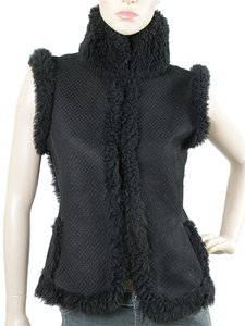 Yves Saint Laurent Quilted Shearling Fur Sleeveless Vest