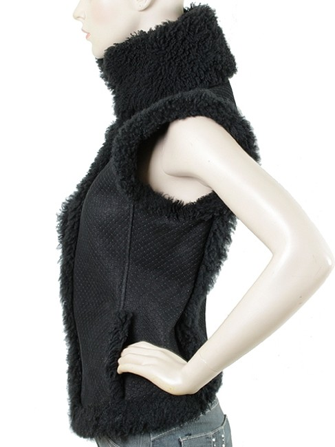 Saint Laurent Quilted Shearling Fur Sleeveless Vest