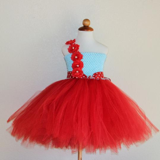 Aqua Red Flower Girl Dress - Tutu Dress