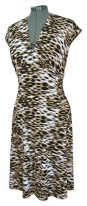 London Times Animal Print Knee Length Dress
