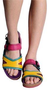 Burberry Leather Flat Multi Color Sandals