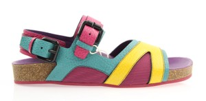 Burberry Leather Flat Multi Color Yellow / Pink / Purple Sandals