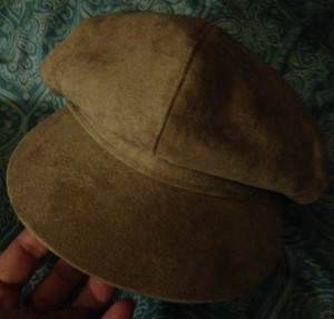 New! Faux Suede Beige Brim with Top Button Scali Style Cap / Hat