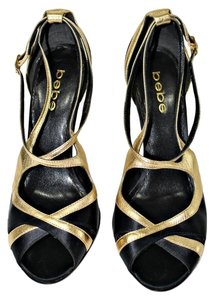 bebe Gold Ankle Strap Gold|Black Pumps