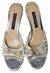 Beverly Feldman Open Toe Pump Crystal Silver|Peach Pumps