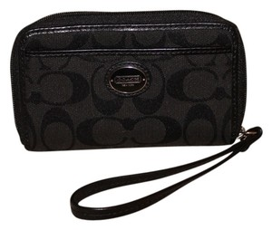 Coach Logo Enamel Signature Wristlet in Black on Black