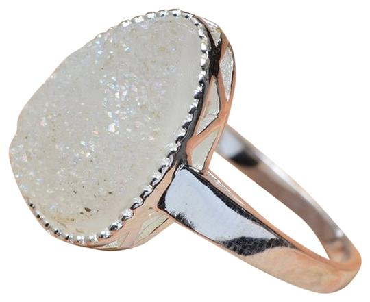 Other 925 STERLING SILVER WHITE TITANIUM AGATE DRUZY RING SIZE 6.75