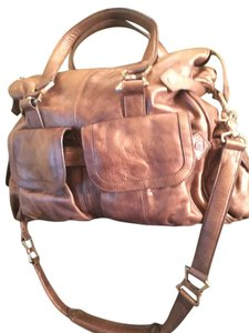 Junior Drake Leather Zipper Satchel in gold