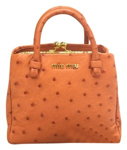 Miu Miu Ostrich Leather Tote in orangered