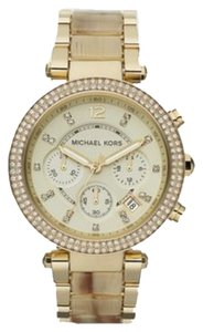 Michael Kors Nwt michael kors parker two tone gold and horn acetate stainless steel bracelet watch MK5632