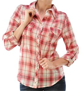 BLVD Plaid Flannel Layering Button Down Shirt Red