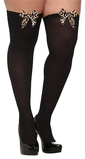 Item - Black W (Size 3/4) Opaque Leopard Bow Thigh Highs - New W/ Tags Hosiery