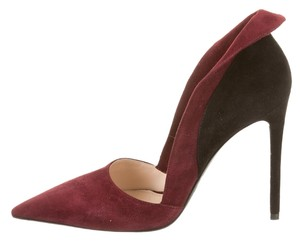 Prada Suede Wing Burgundy Pumps