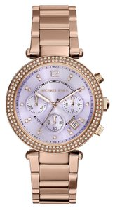 Michael Kors Nwt Parker Chronograph Purple Dial Rose Gold-tone Watch MK6169