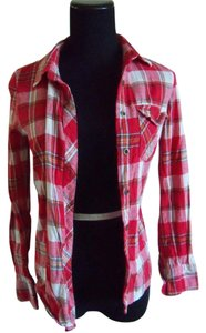 PacSun Flannel Check&stripe White Button Down Shirt Red