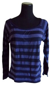 Charlotte Russe Stripe Black Longsleeve T Shirt Purple/ Black