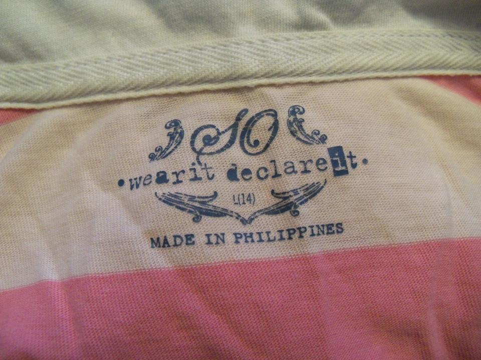So Wear It Declare It Stripes Polo T Shirt Pink/ White - 40% Off ...