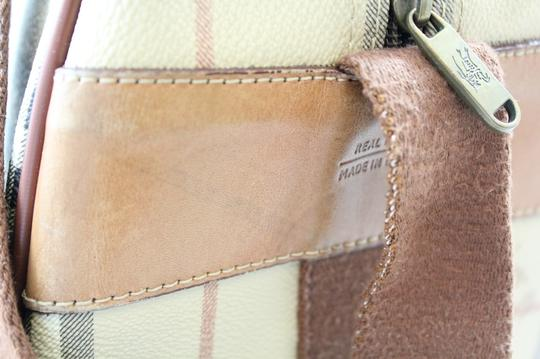 Burberry Leather Canvas Tote Multi Travel Bag
