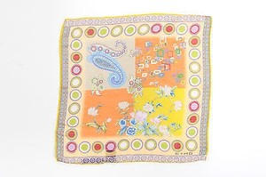 Etro Etro Yellow Orange Green Linen Silk Floral Paisley Print Square Pocket Scarf