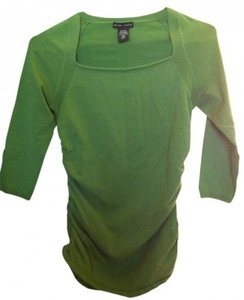 New York & Company Long Sleeve Tee Ruched Side Top Green